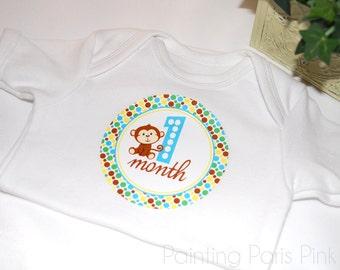 Jungle Monkey Belly Babe Milestone Baby Stickers | 1st Year | BONUS Just Born Set included | FREE SHIPPING