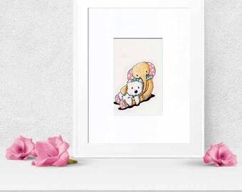 Original Art Westie Dog with Toy Elephant