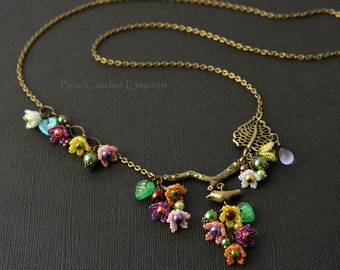 Bright flowers spring beadwoven necklace with bird, Fairy garden