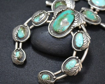 Large Old Pawn Sterling Silver Turquoise Squash Blossom Necklace, Turquoise Squash Blossom, Navajo Squash Blossom, Big Squash Blossom