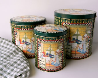 Kitchen Canister Set. Decorative Tins. Kitchen Storage Containers. Metal Canisters. Country Farmhouse Decor.  Rustic Cottage Style.