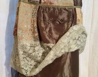 Skirt long patchwork fashion fabric blend