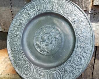 Pewter Plate Embossed Horseman