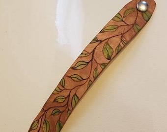 Handmade Leather Leaf Cuff Bracelet