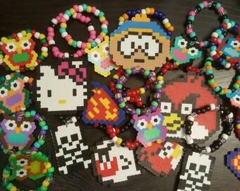 RAVE KANDI! 3 Random Perler Bead Bracelets! Edm - rave- edc - PLUR - kandi
