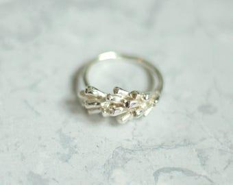 Silver lavender ring - Lavender ring - Organic ring - Flower ring