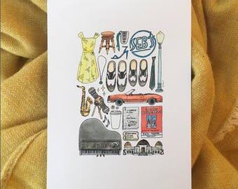 LA LA LAND Minimal Movie Poster Print Drawing Illustration Hand Drawn Tap Shoes Jazz Music Saxophone Classic Cinema Theatre Quote Car