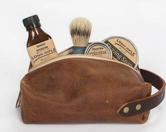 Mens Leather Dopp Kit - Leather Toiletry Bag - Leather Shaving Kit - Mens Toiletry Bag - Travel Toiletry Bag - Mens Travel Bag