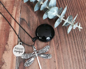 perfectly imperfect necklace with black stone pedant and dragonfly charm on a black ball bearing Necklace - Australian Seller