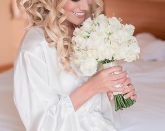 Personalized Satin Bridal Robe wedding Date on the Cuff, bridal robe, wedding day robe, getting ready robe, personalized bridal robe, gift
