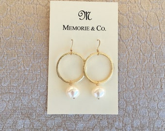 Gold Hoops with Freshwater Pearl Dangles