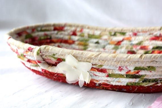 Floral Desk Accessory, Ring Dish, Handmade Makeup Organizer, Artisan Coiled Basket, Shabby Chic Key Holder, English Garden Basket, Quilted