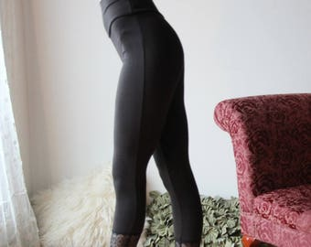bamboo leggings with lace trim - NOUVEAU bamboo sleepwear range - made to order