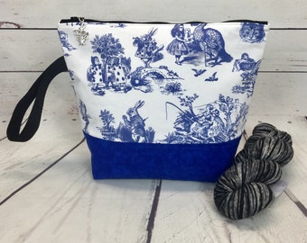 Alice in Wonderland project bag for knitting and crochet