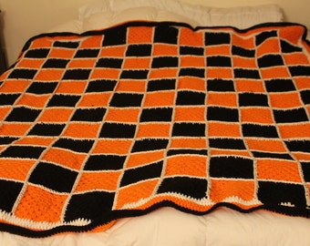 Granny Square Afghan Blanket Throw Crochet- Orange and Black