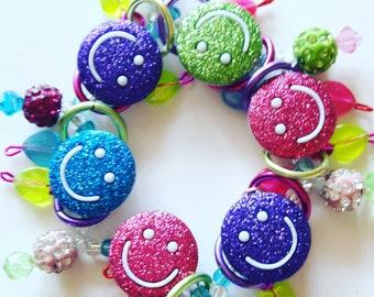 Smiley face bracelet/Happy/Beadiebracelet