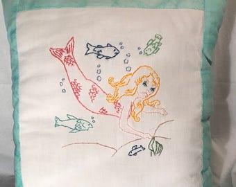 Mermaid Embroidered Decorative Pillow Handmade Nautical