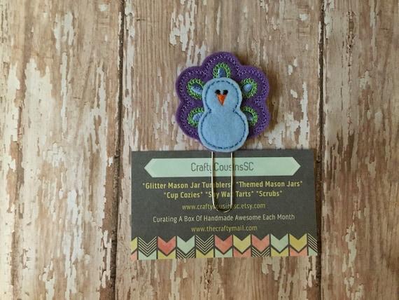 Peacock Paper Clip. Animal planner clip. Bird planner clip.