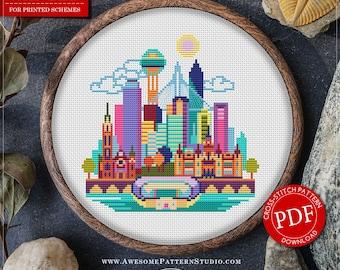 Dallas Cross Stitch Pattern for Instant Download *P101 | Easy Cross Stitch| Counted Cross Stitch|Embroidery Design| City Cross Stitch