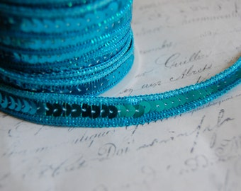 "1/2"" Wide Turquoise Blue Sequin Ribbon Trim with Metallic Thread Edging"