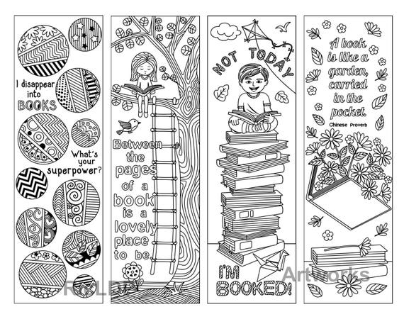 8 coloring bookmarks with quotes on books and reading