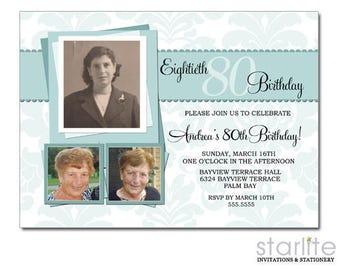 80th Birthday Invitations Photo, 80th Birthday Invitation for Women, 80th Birthday Invitation Picture, Sea Green, Birthday Invite Printable