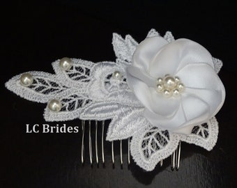 Bridal Lace Hair Comb Hairpiece, Bridal Lace Hairpiece, Pearl Hairpiece, Bridal Hairpiece