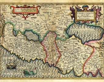 MP54 Vintage 1782 Historical Antique Old Map Of Palestine Poster Re-Print Wall Decor A1/A2/A3