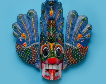 "Traditional Sri Lanka ""Mayura Raksha"" (Peacock Devil) Mask"