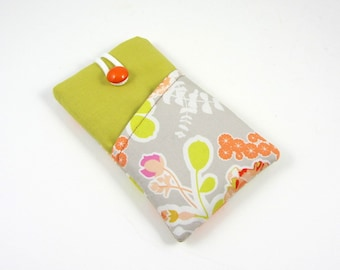 Floral iphone case,  cell phone wallet,  phone sleeve in cotton,  smartphone case with compartment, mobile phone pouch , soft case cover