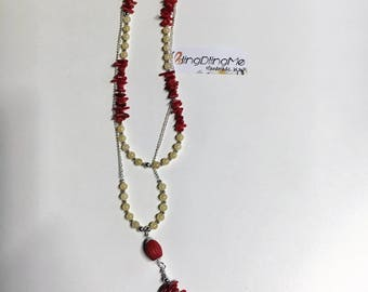 Necklace with Coral and jade