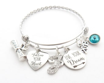 Personalized Graduation Bracelet, 2018 Grad Gift, Gift for High School Graduates, Follow your Heart Live Your Dream inspirational jewelry