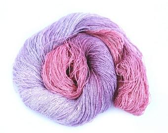 Handdyed laceweight banana yarn, hand dyed vegan silk, natural fiber boucle lace yarn, pink lilac purple knitting wool yarn skein hank