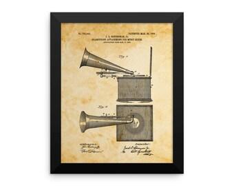 Framed Gramophone Patent Poster