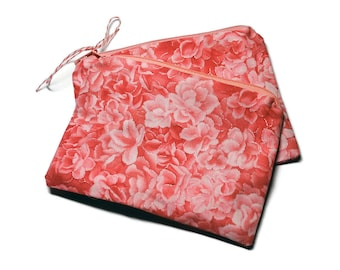 Reusable Snack Bags Set of 2 Pink Floral Pink Roses Flowers