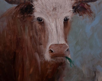 ORIGINAL Longhorn Steer PAINTING on CANVAS Original Whimsy Farm Animal Painting Signed and Ready to Hang -Free Shipping