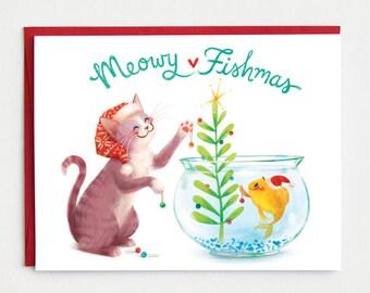 Funny Holiday Card - Meowy Fishmas - animal christmas card, cat christmas card