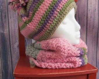 READY TO SHIP-Crochet hat and neck warmer, pink, grey, purple/fall winter accessory/hat pompom/hand made/woman gift/girl gift/ready to ship
