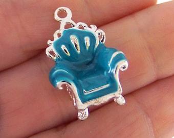 3 Blue chair charms, victorian chair charm, blue chair charm, enamel charms, enamel charm, 3D charms, high quality, doll furniture charm