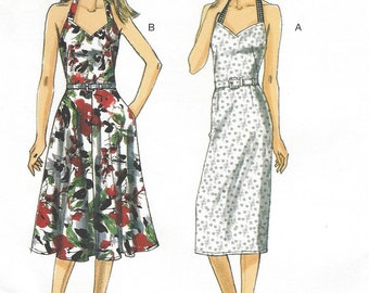 Womens Halter Dress with Slim or Flared Skirt Custom Fit for Cup Size OOP Vogue Sewing Pattern V8725 Size 8 10 12 14 Bust 31 1/2 to 36 FF