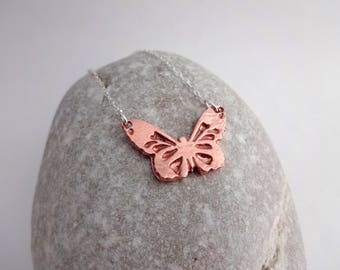 Dainty Necklace, Butterfly Necklace, Gift for Nature Lovers, Copper Anniversary Gift, Copper Jewelry, Gift for Mum, Mother's Day Gift
