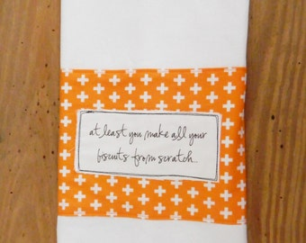 Scratch Biscuit Maker towel, southern humor, orange geometric print