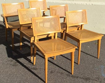 Set of 6 dining chairs , m1563 Heywood Wakefield Set, rare press cane weave