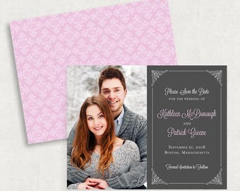 Purple Save the Dates, Purple and Gray Save the Dates, Photo Save the Dates, Photo Save the Date Magnets, Printable Save the Dates, PDF, DIY