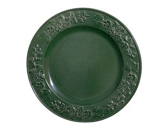 Green Dinner Plate with Blossom and Leaf Trim