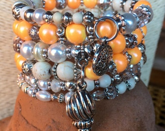It's #Beach time! Handmade 5x wrap bracelet with white magnesite, peachy coral ceramic and glass faceted beads with tibetan silver beads, sp