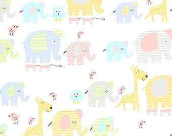 1 Yard 35 Inches, Elephants, Giraffes, and Birds on White Flannel