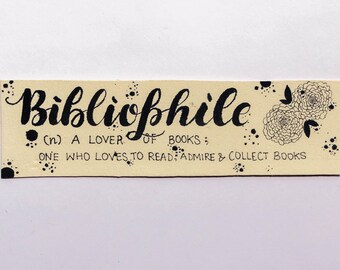 Bibliophile book lover's hand lettered bookmark