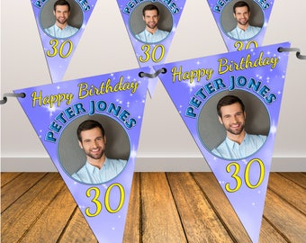 Personalised Happy Birthday PHOTO Flag Banner Bunting with ribbon N39 (10 Flags ) Hanging Decoration 18th 21st 30th 40th Any Age