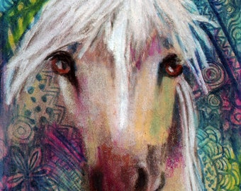 original art  aceo drawing zentangle style horse spirit animal